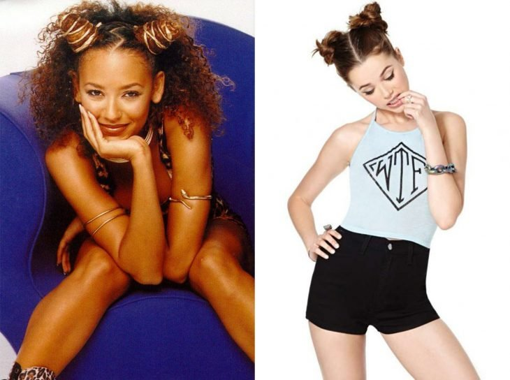 antes y después de la moda de los 90's double bun