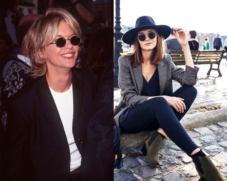 antes y después de la moda de los 90's lentes redondos