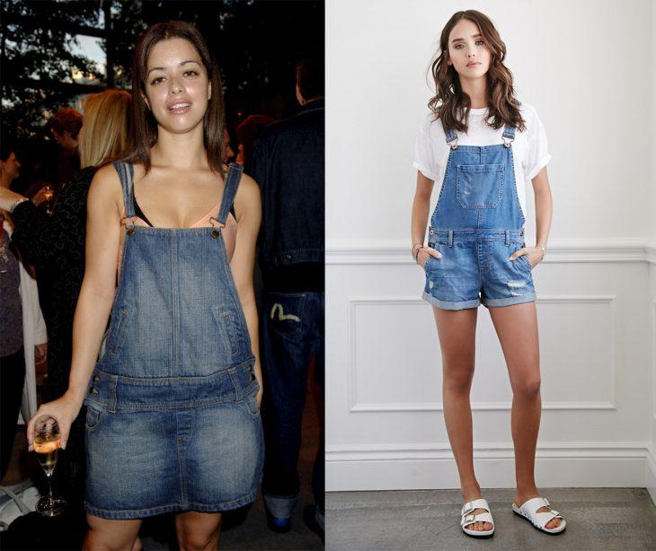 antes y después de la moda de los 90's overoles