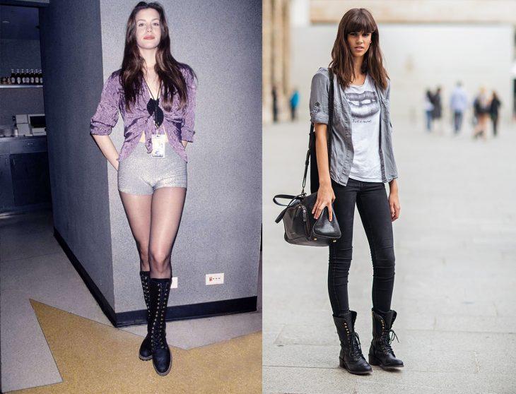 antes y después de la moda de los 90's botas de combate