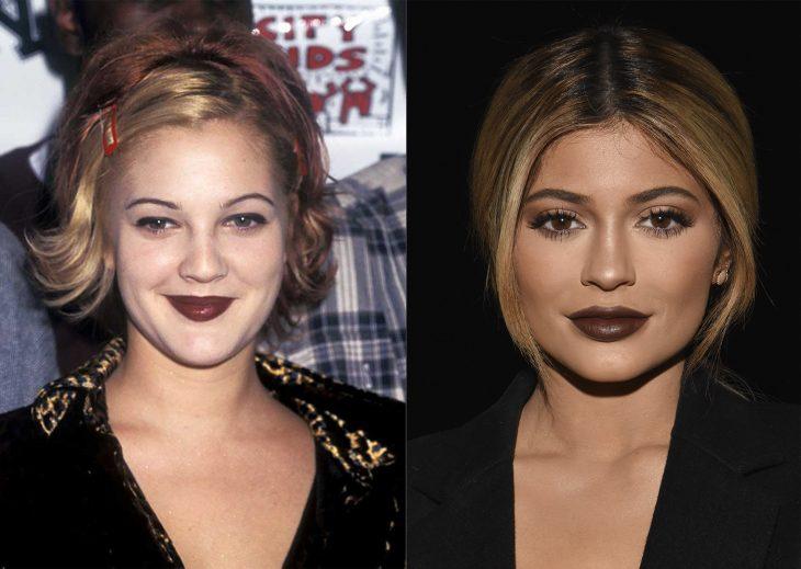 antes y después de la moda de los 90's labios en color café