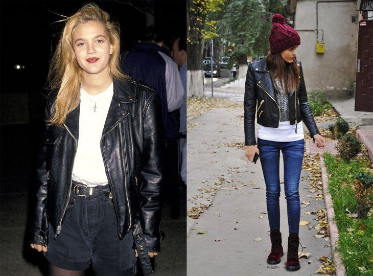 antes y después de la moda de los 90's chaquetas de piel