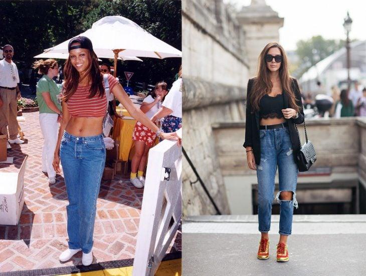 antes y después de la moda de los 90's crop tops