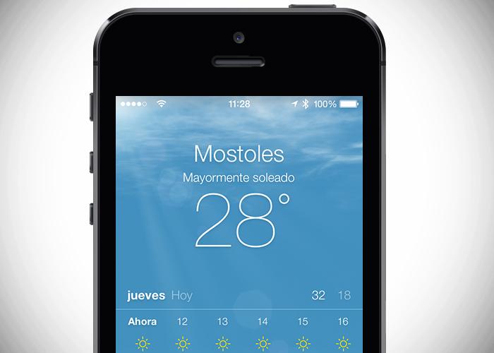 celular con pantalla pronóstico del clima