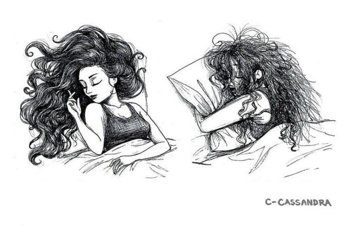 ilustración expectativa vs. realidad cabello en la noche