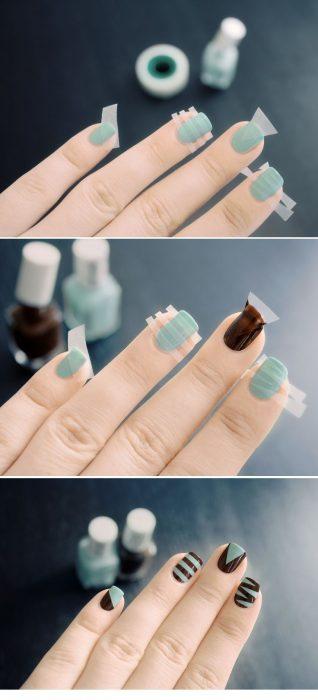 Cinta usada en las uñas para crear patrones geométricos