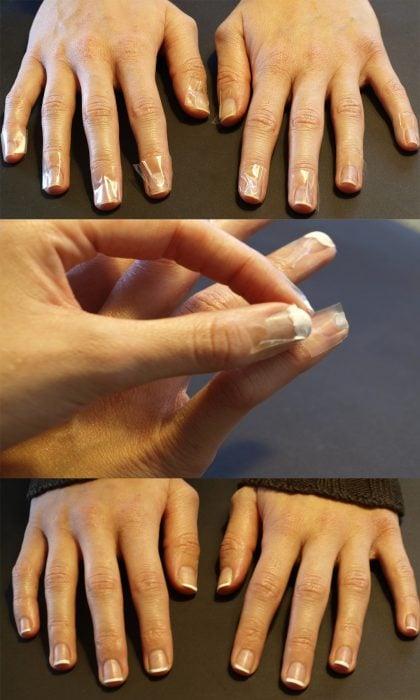 Formas de hacer una manicura francesa con cinta adhesiva