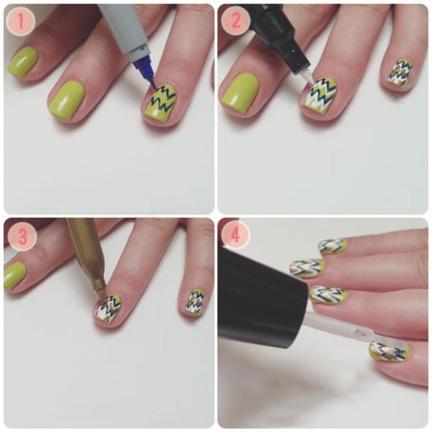 Uso de marcador para crear distintas formas en las uñas
