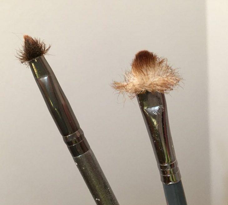 Brochas con los pelos arruinados