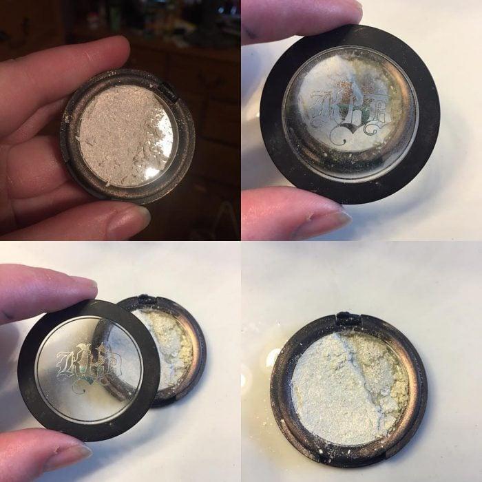 Chica abriendo una sombra de maquillaje que está quebrada