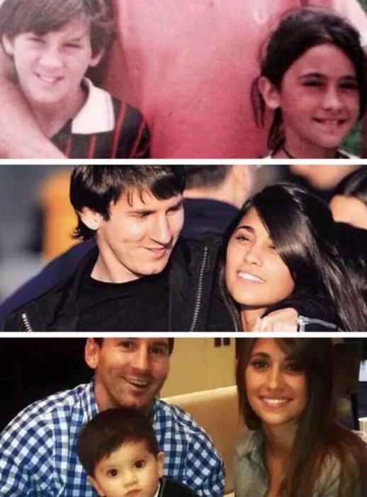 Leonel Messi y su esposa fotos desde niños hasta hoy