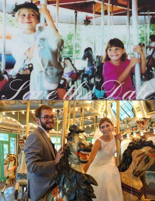 pareja niños en carrusel y casados después