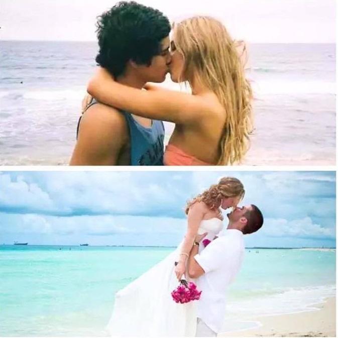 pareja antes cuando eran jóvenes y después de casarse en la playa