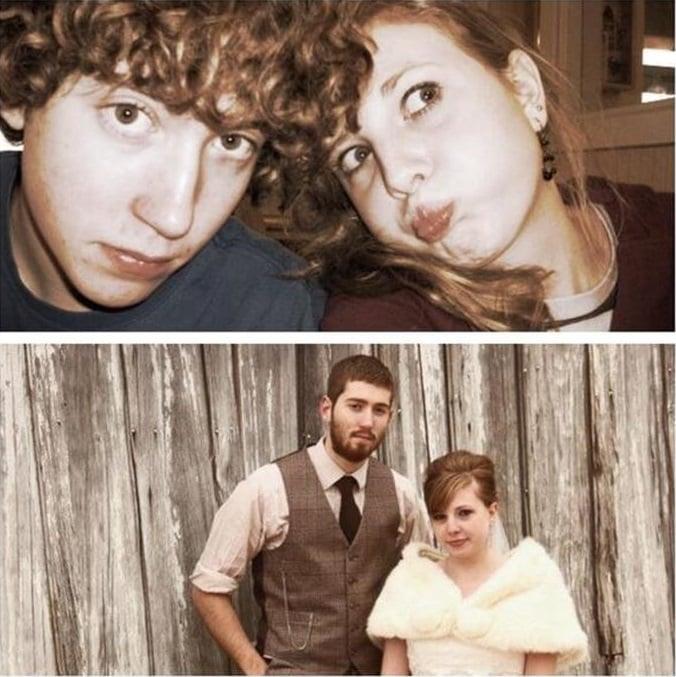 pareja antes de jóvenes y después en su boda