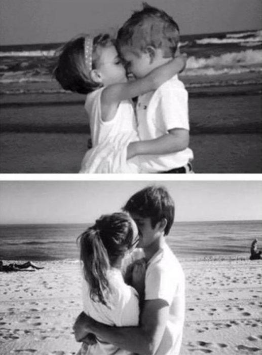 foto antes y después pareja joven besándose