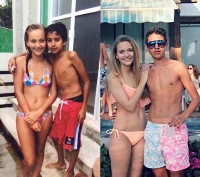 pareja antes de niños y ahora de jóvenes