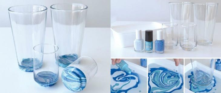 vasos transparentes usados para pintar vasos