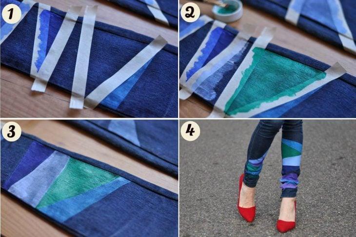 jeans con decoracion en los tobillos en formas geometricas