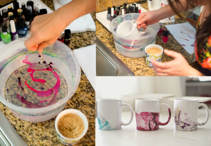 tazas blancas para decorar con agua y esmalte de uñas