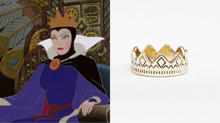 Anillo basado en la villana la reina malvada de la película Blanca nieves