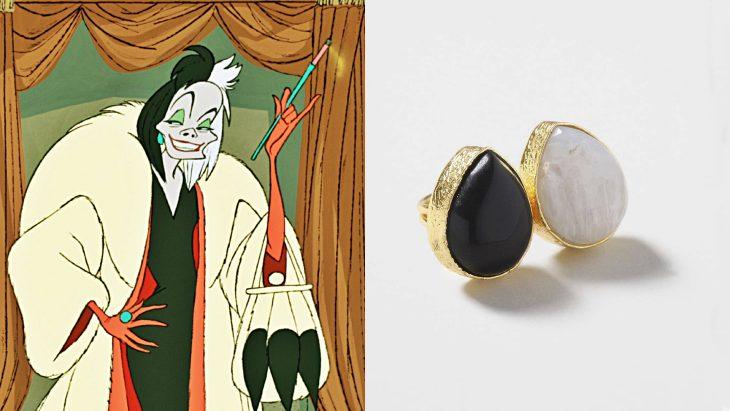 Anillo basado en la villana Cruella de vil de la película 101 dálmatas