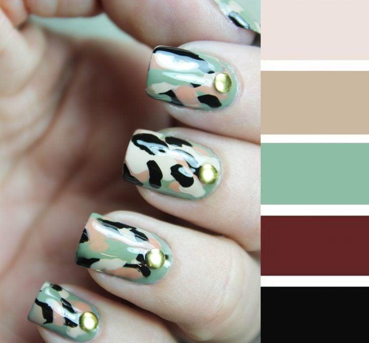 Combinaciones de uñas en color verde militar