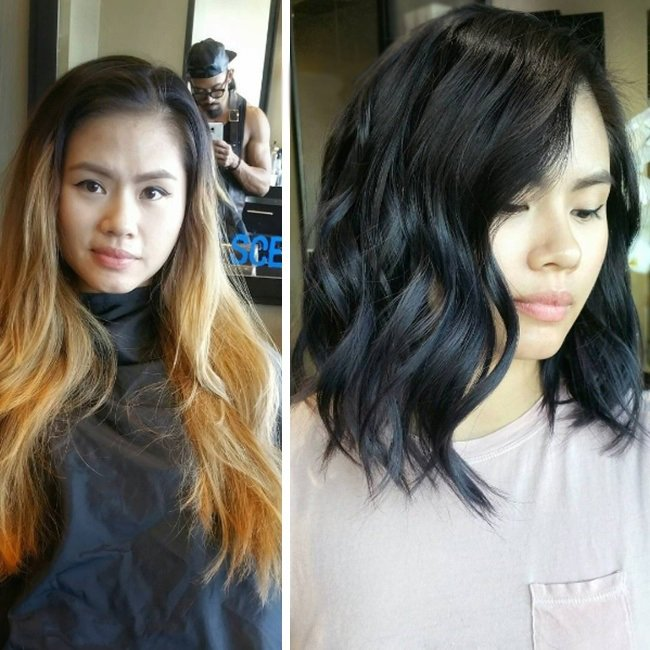 Transformación de cabello de largo a corto con un teñido en color negro