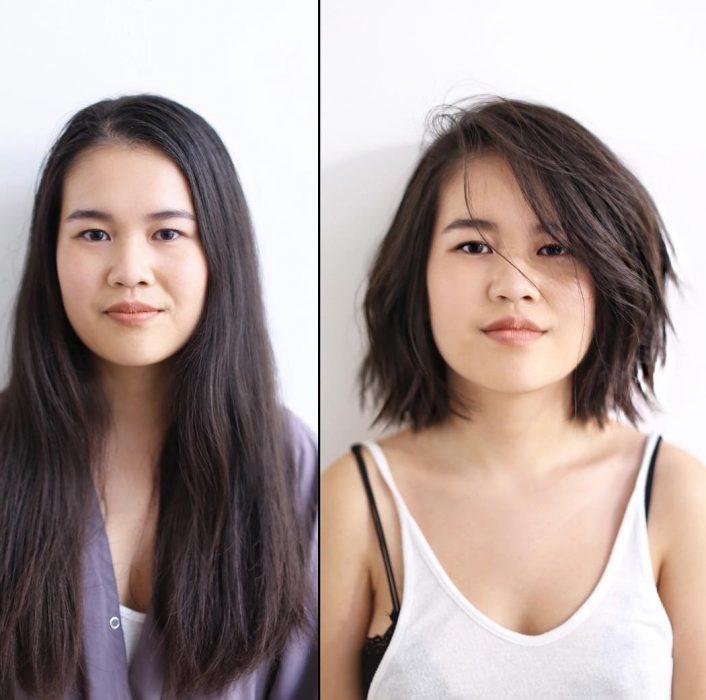 Transformación de cabello de largo a corto con el cabello en color negro
