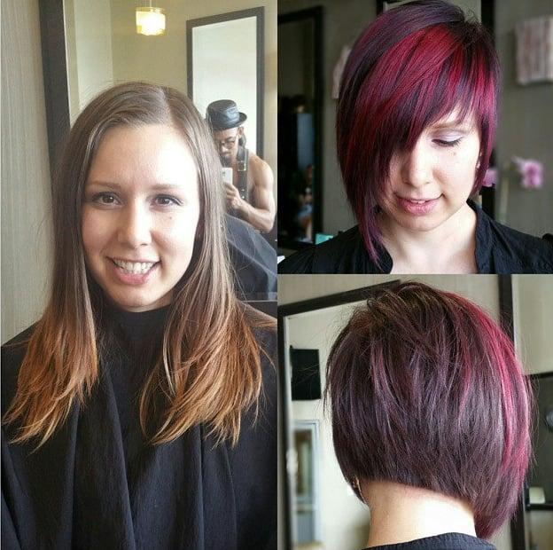 Transformación de cabello de largo a corto con un teñido en color borgoña