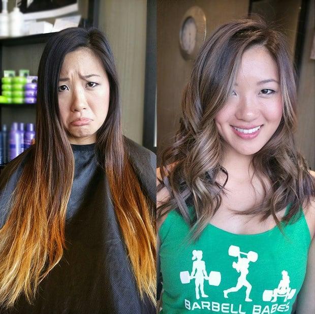 Transformación de cabello de largo a corto