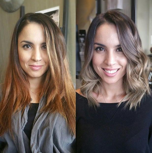 Transformación de cabello de largo a corto con un teñido en color ombré