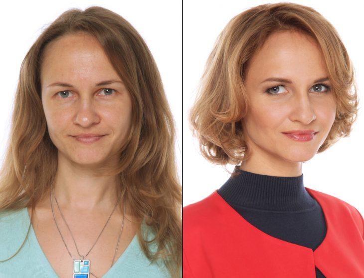Transformación de cabello de largo a corto con un teñido en color castaño