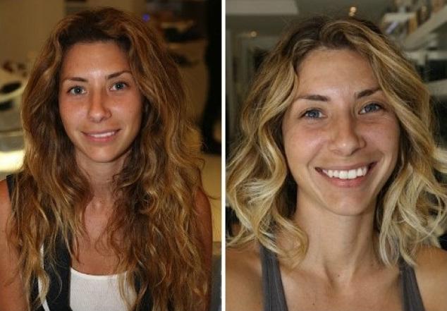 Transformación de cabello de largo a corto con un teñido en color rubio