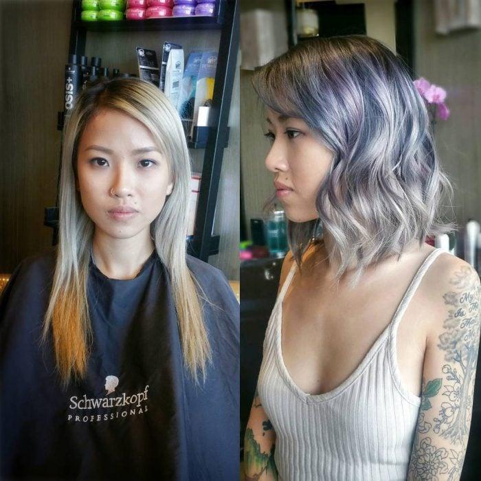 Transformación de cabello de largo a corto con un teñido en color purpura