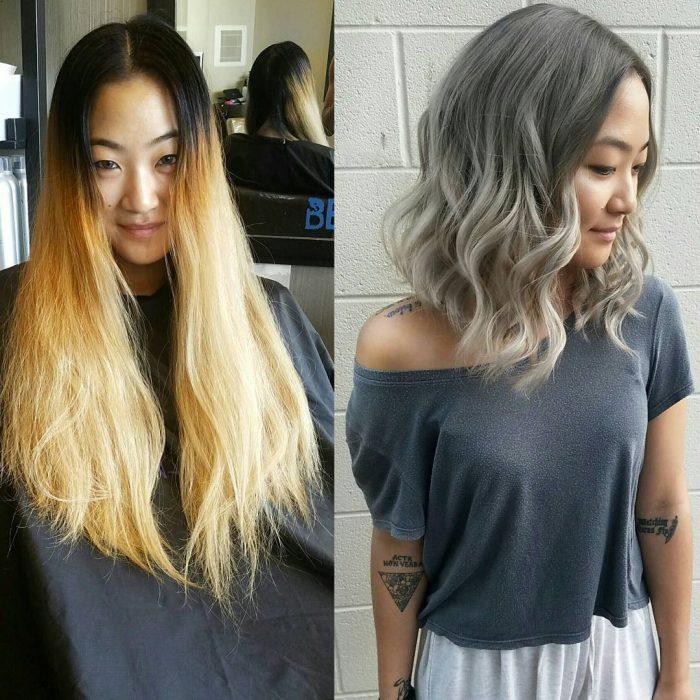 Transformación de cabello de largo a corto con un teñido en color gris
