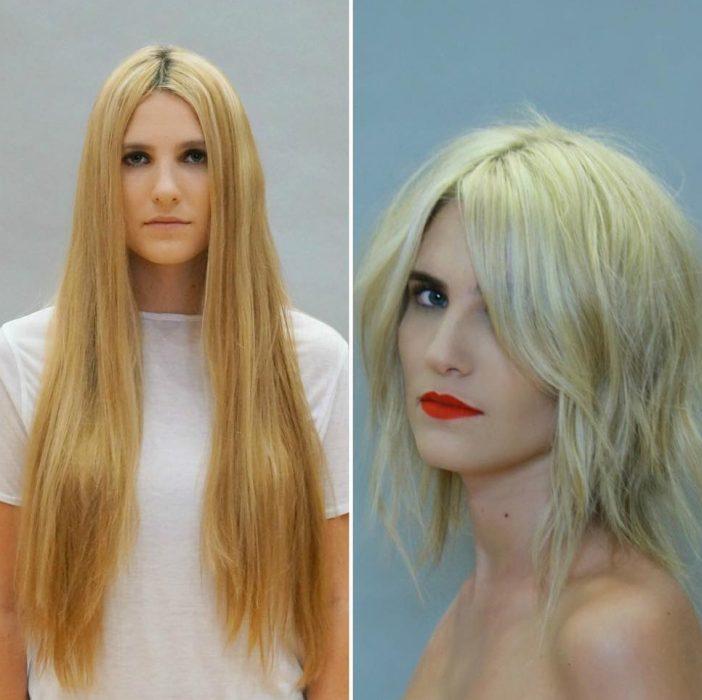 Transformación de corte de cabello de largo a corto en una chica rubia
