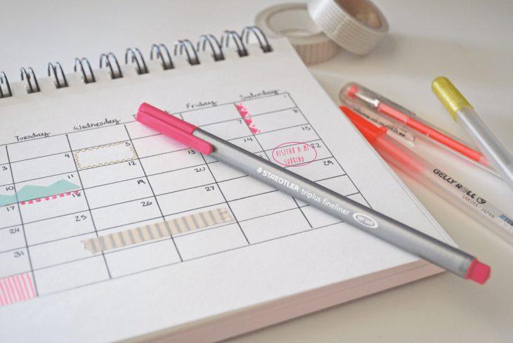 Calendario con fecha señalada