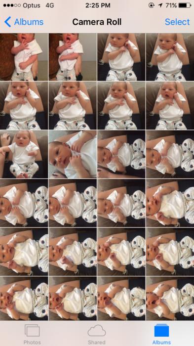 Galería de fotos de bebé de un celular