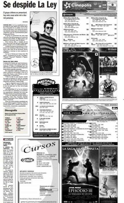 Cartelera del cine en un periódico