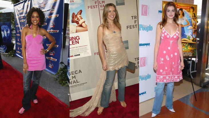 Chicas usando denim o mezclilla bajo los vestidos