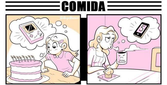 Ilustración de la diferencia de un cumpleaños antes y ahora con la comida