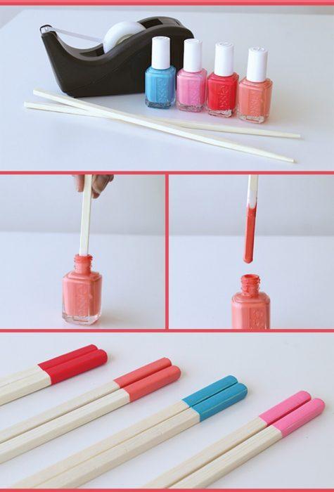 cinta adhesiva palos chinos y esmalte de uñas de diferentes colores
