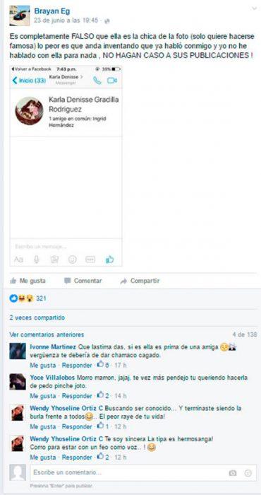 convercación en facebok de captura de pantalla el brayan