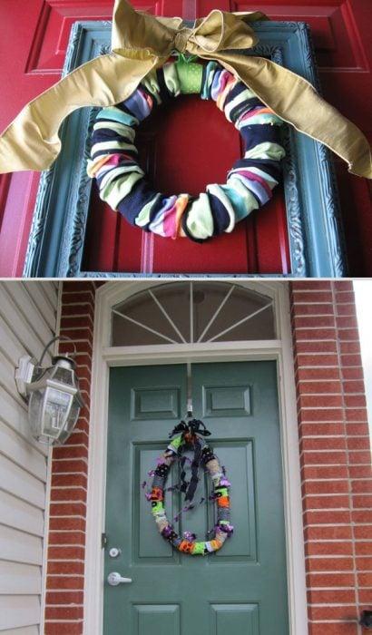 Fails de pinterest corona de tela colgada en la puerta