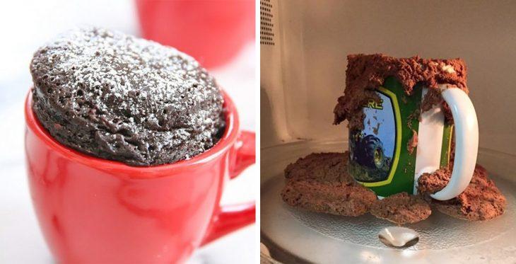 Fails de pinterest cocinar un pastel en una taza