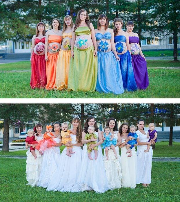 Foto de embarazadas en grupo antes y después de tener a su bebé