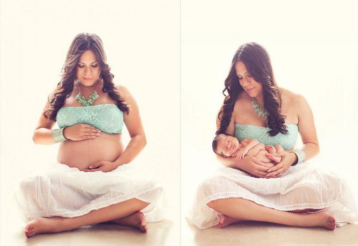 Chica embarazada antes y después de tener a su bebé