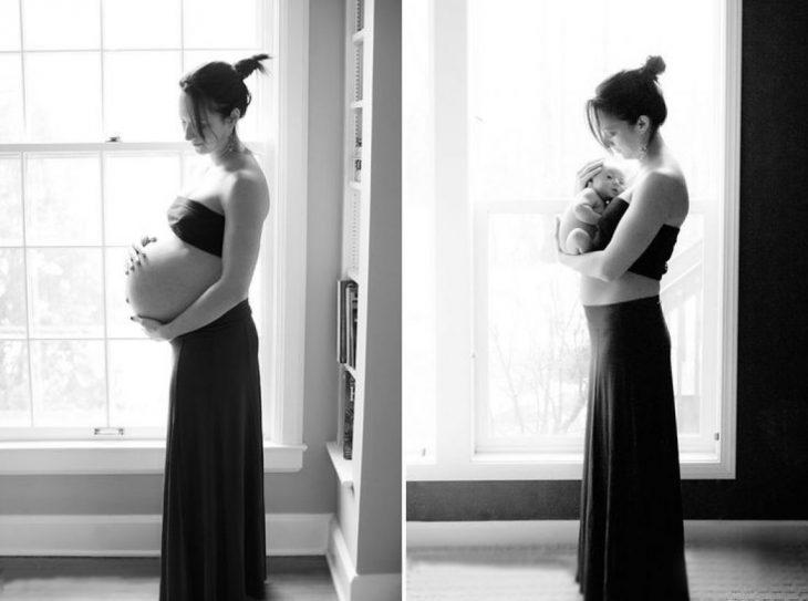 Chica frente a la ventana sosteniendo su panza y después a un bebé