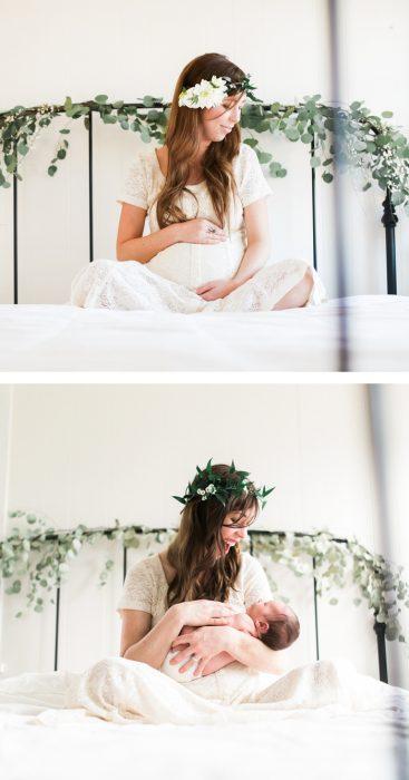 Foto de embarazo antes y después de tener a su bebé