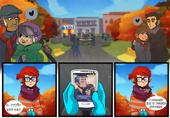 Cómic de una pareja viendo su celular